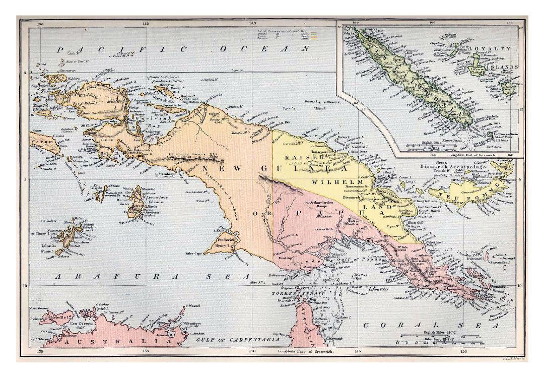 Large detailed old map of New Guinea and New Caledonia - 1884