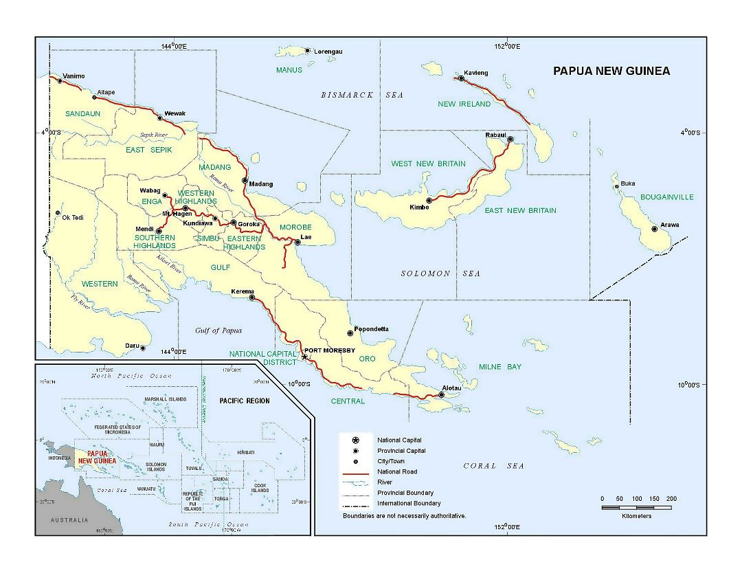 Large detailed political and administrative map of Papua New Guinea with major roads, large cities and rivers