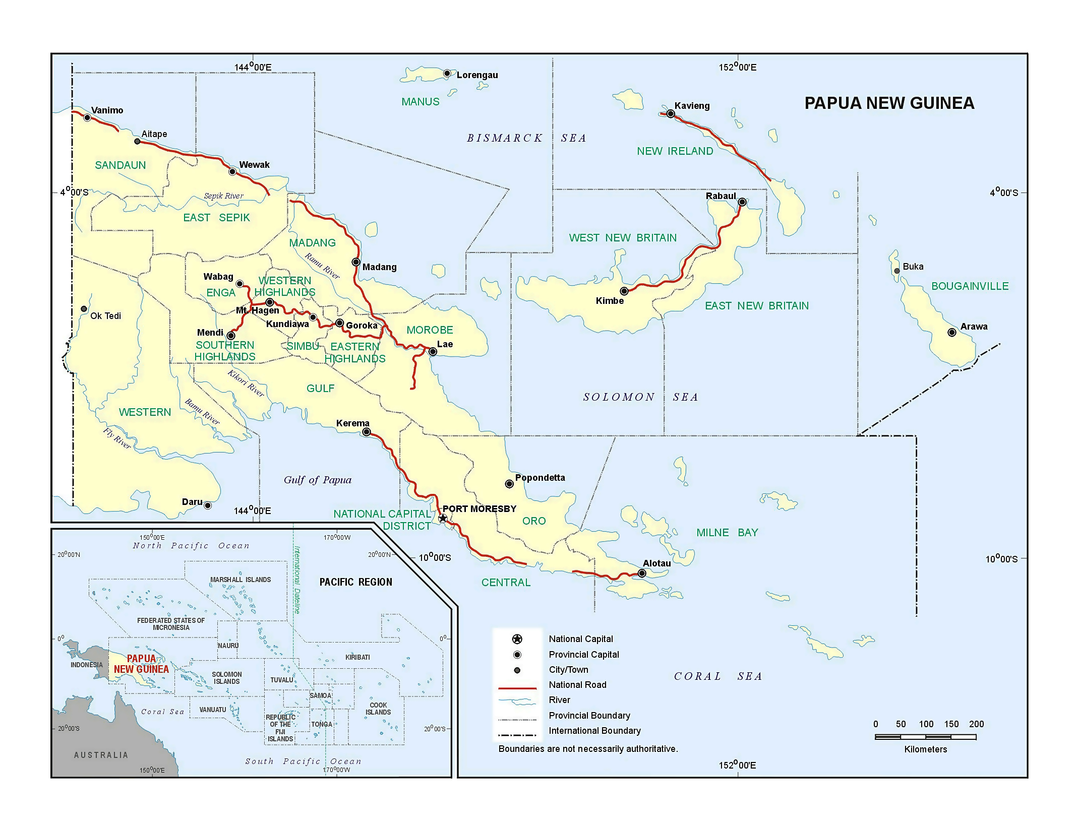 Large detailed political and administrative map of Papua New Guinea