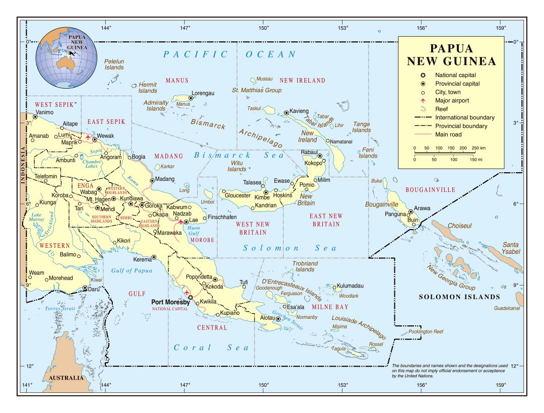 Large detailed political and administrative map of Papua New Guinea with roads, major cities, cities, towns and airports