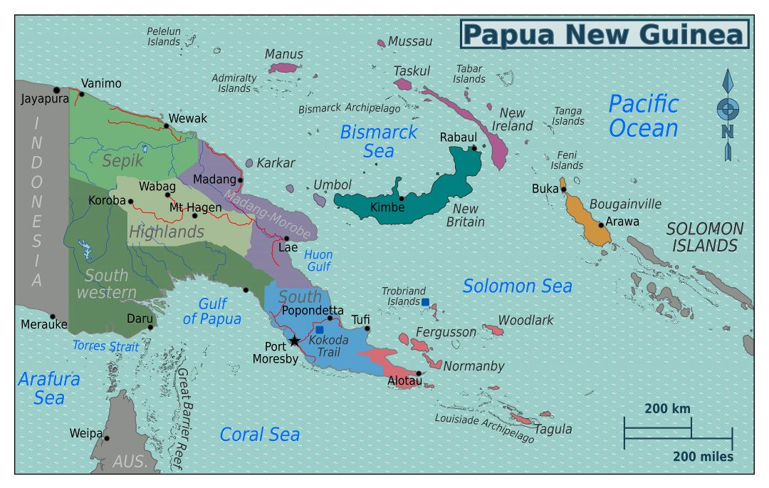 Large detailed regions map of Papua New Guinea