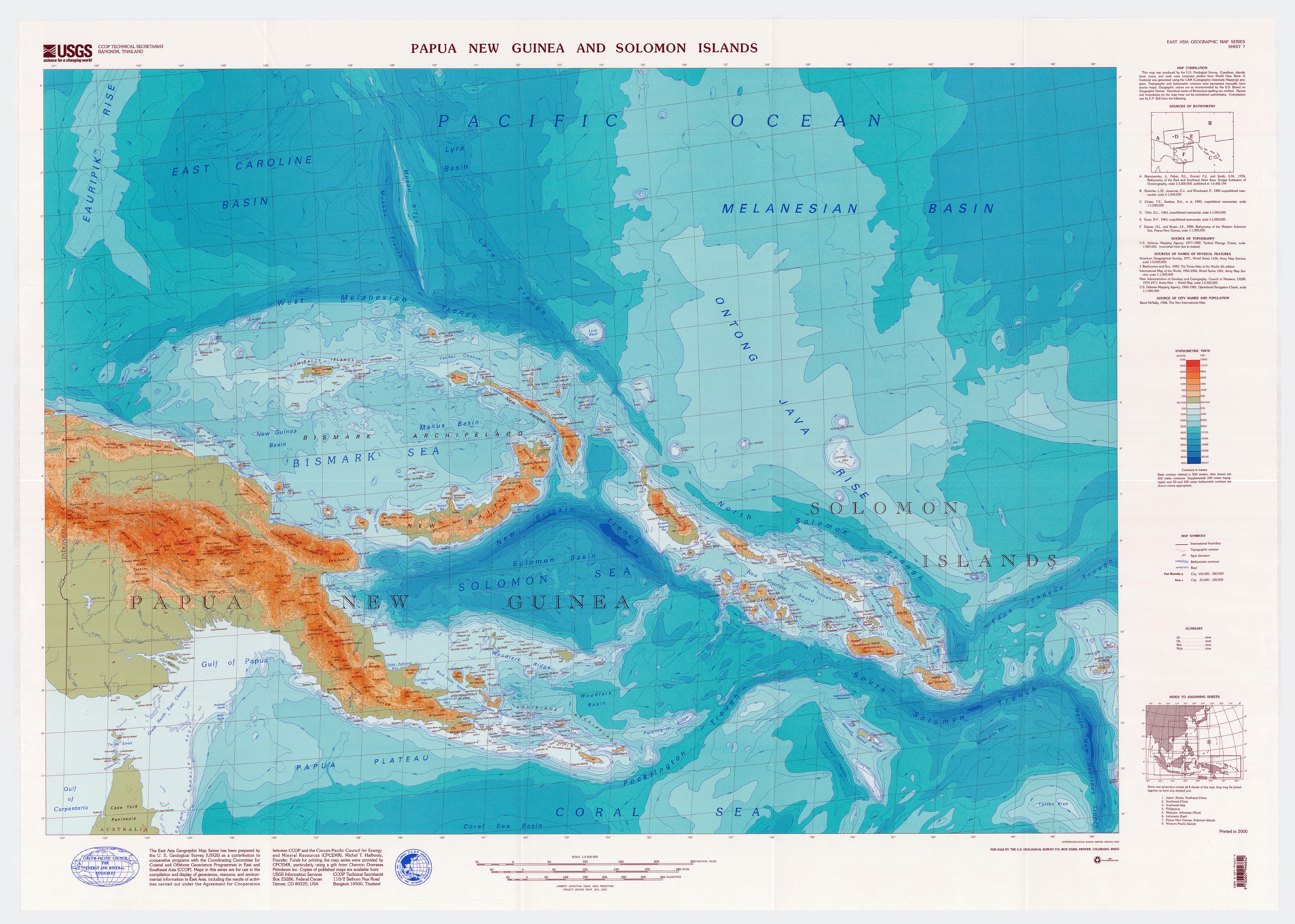 Large detailed topographical map of Papua New Guinea | Papua ...