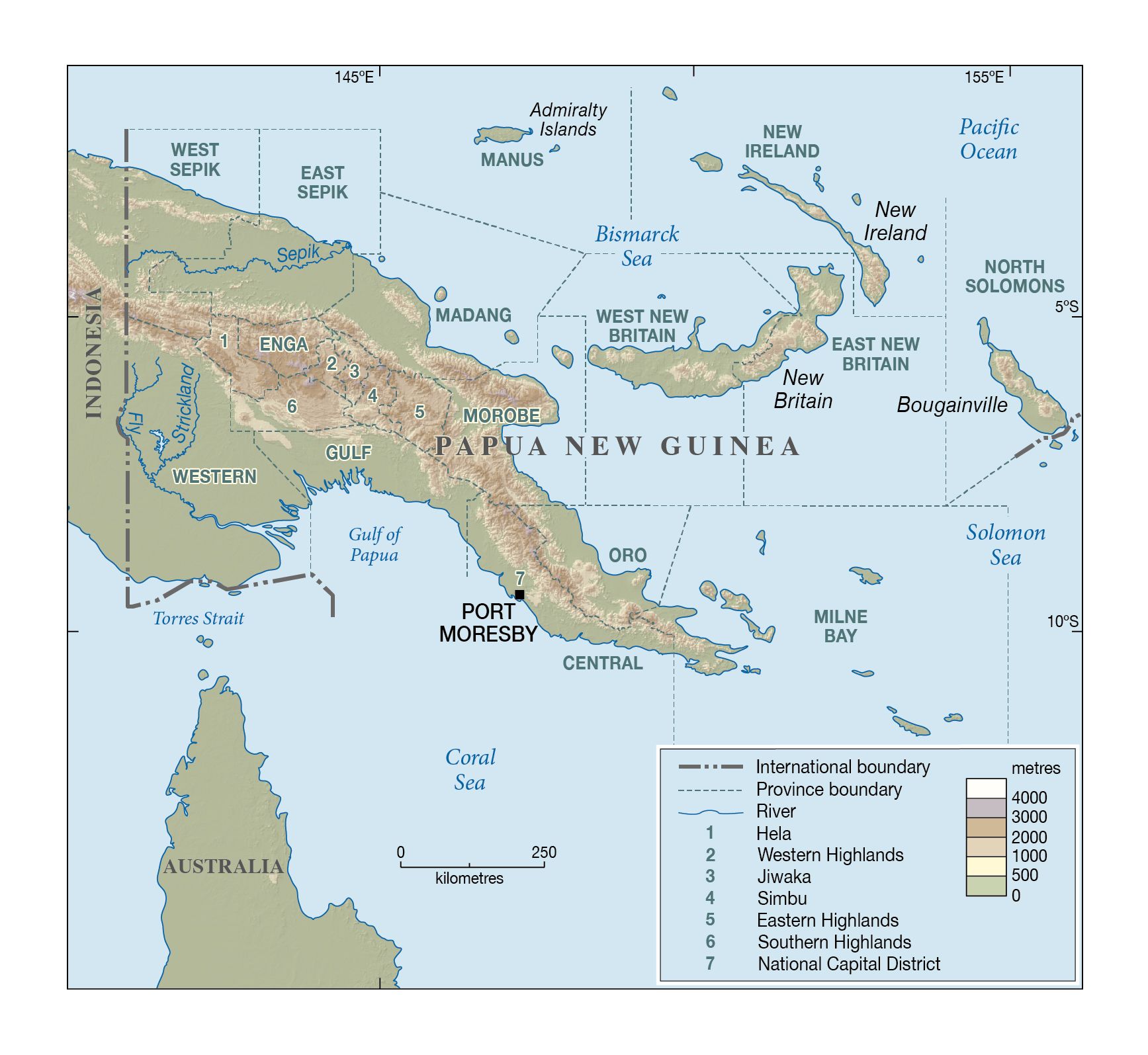Large elevation map of papua new guinea with other marks papua large elevation map of papua new guinea with other marks gumiabroncs Gallery