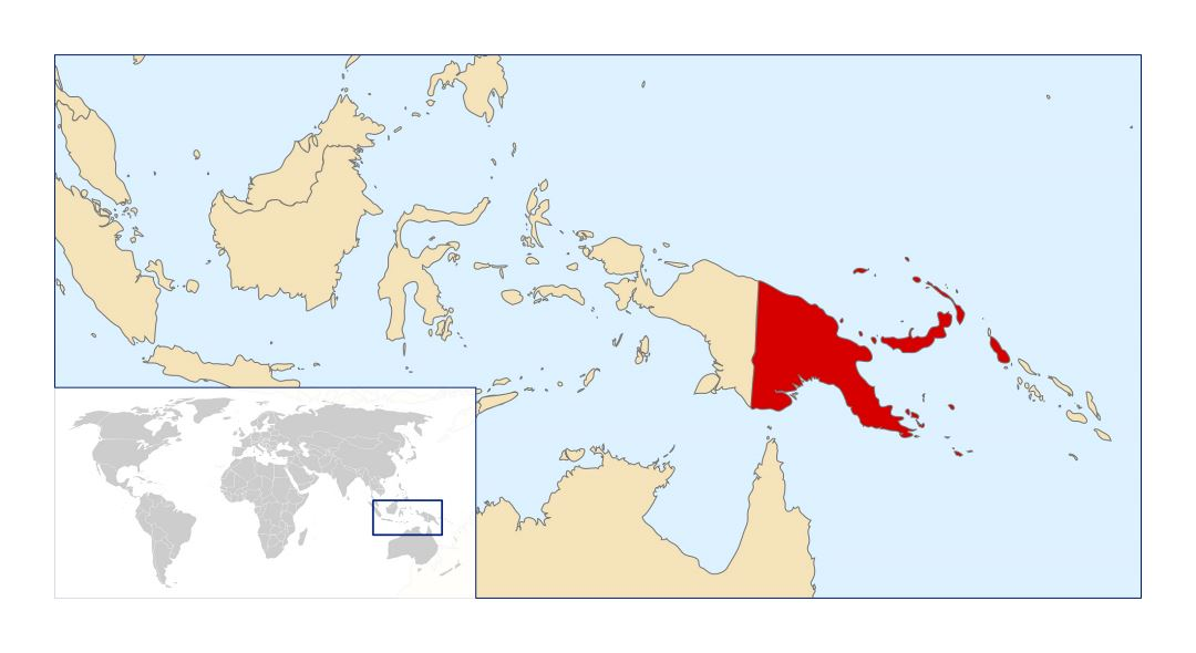 Large location map of Papua New Guinea