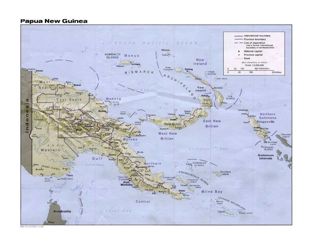 Large political and administrative map of Papua New Guinea with relief, roads and cities - 1985