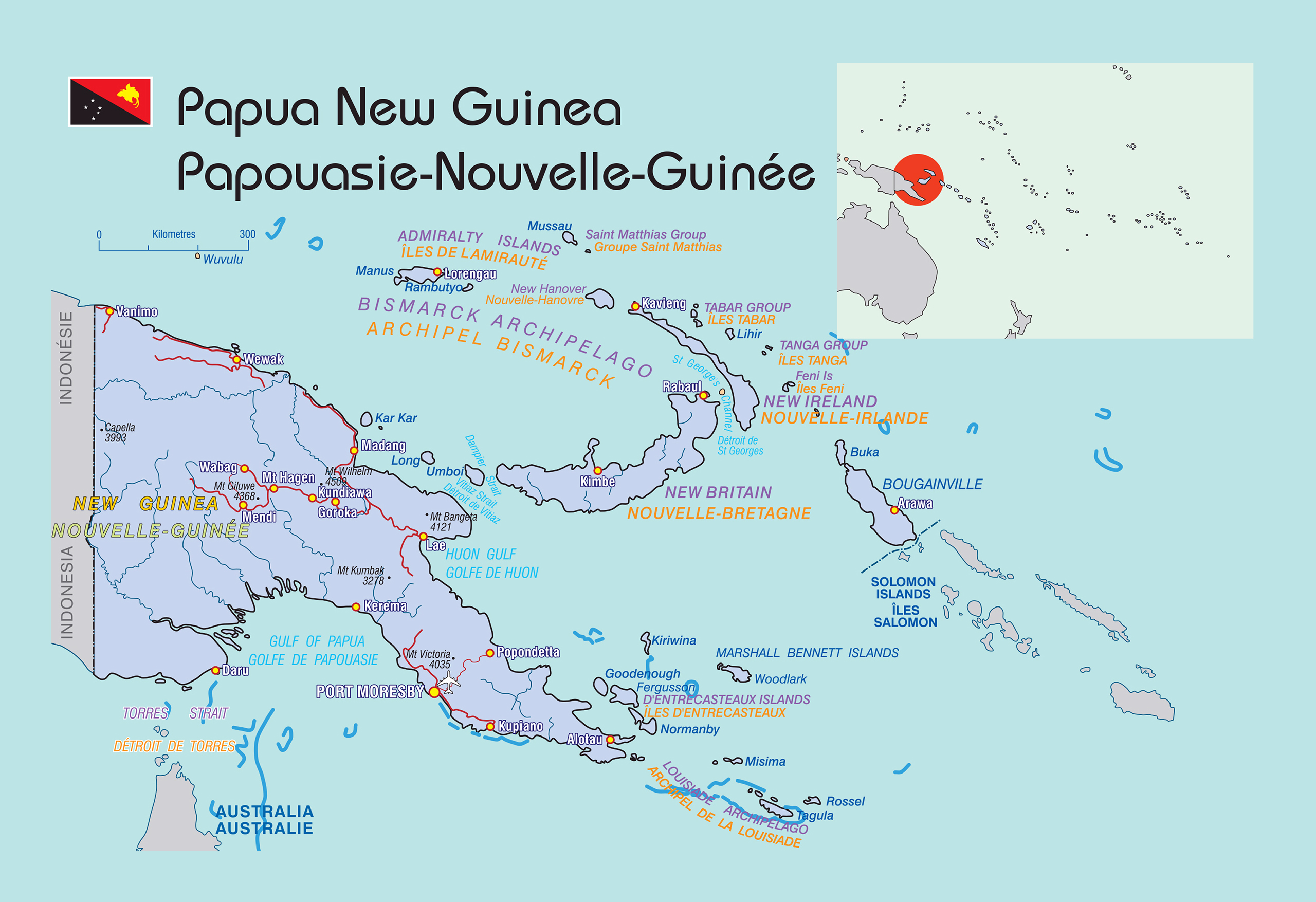 Large political map of papua new guinea with roads and cities large political map of papua new guinea with roads and cities gumiabroncs Choice Image