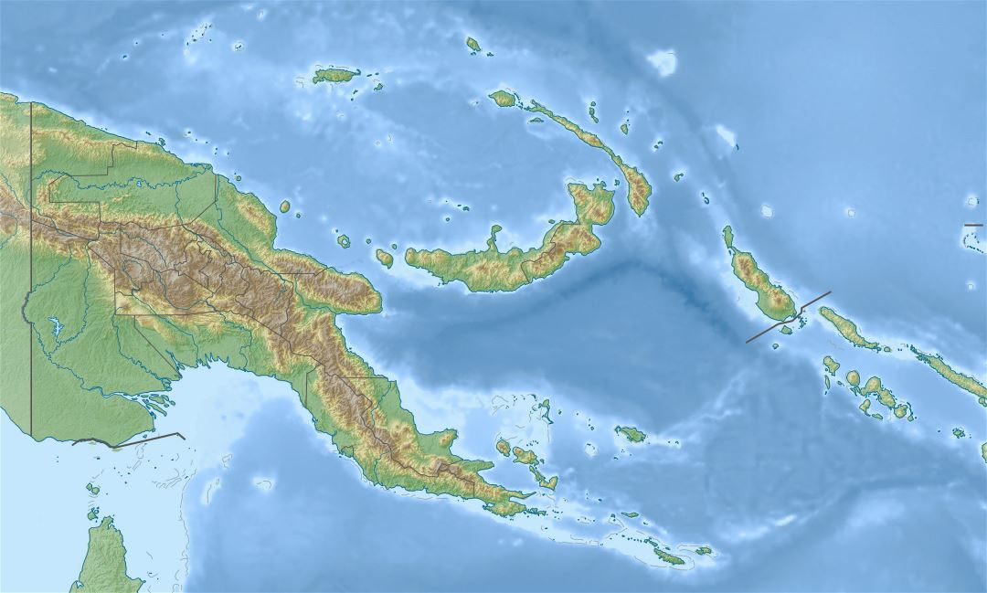 Large relief map of Papua New Guinea