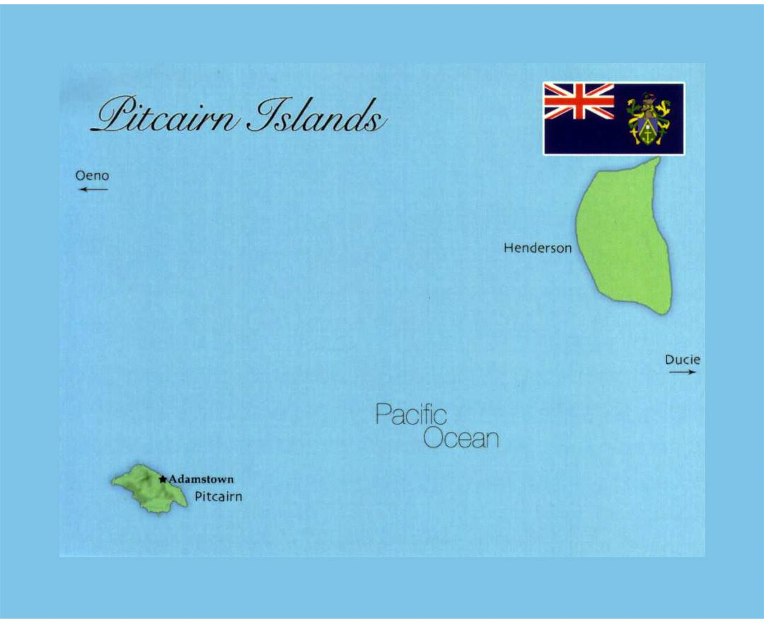 Detailed map of Pitcairn Islands with flag
