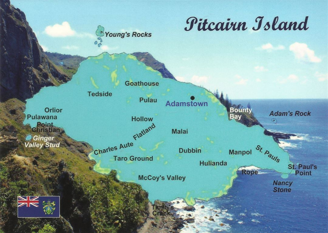 Large detailed postcard map of Pitcairn Island