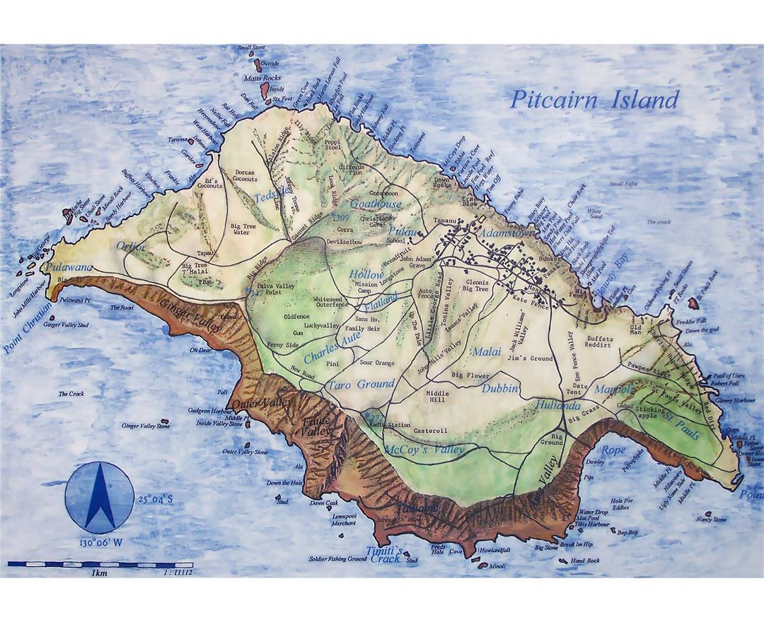 Large map of Pitcairn Island with relief, roads and other marks
