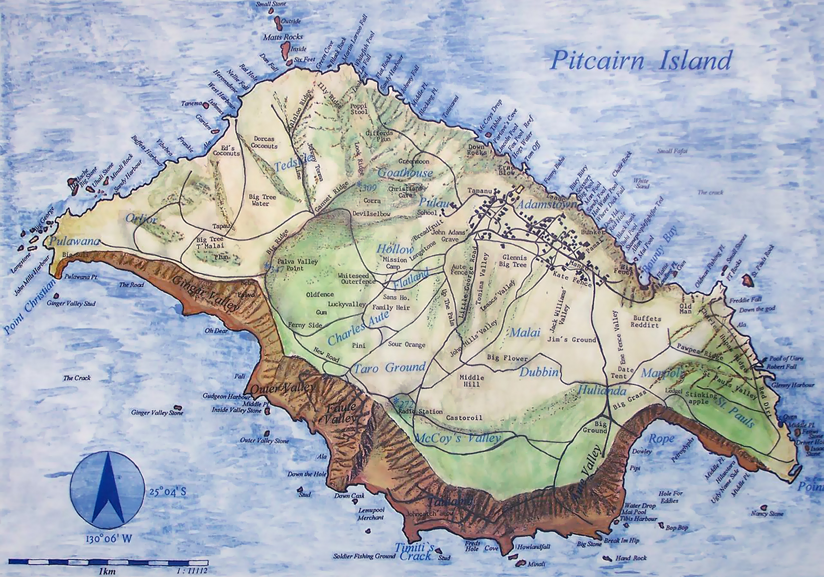 Large map of Pitcairn Island with relief roads and other marks