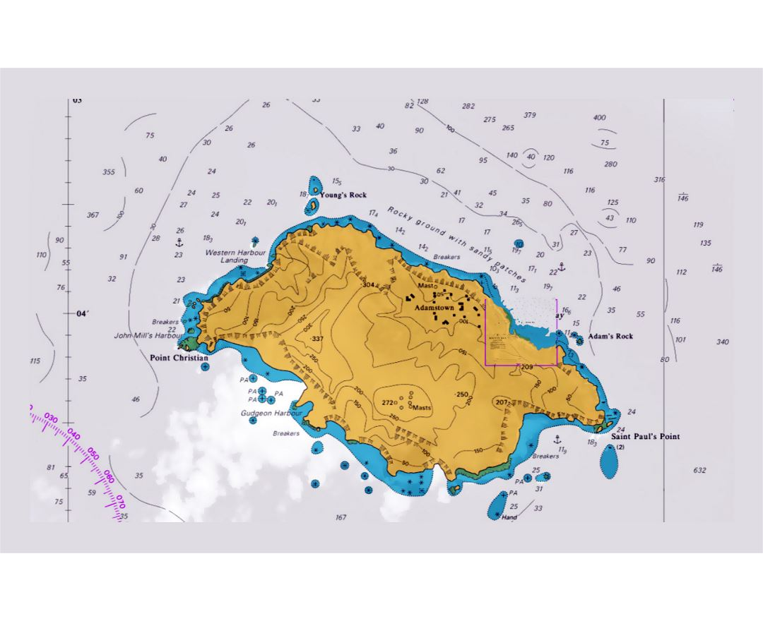 Large nautical map of Pitcairn Island