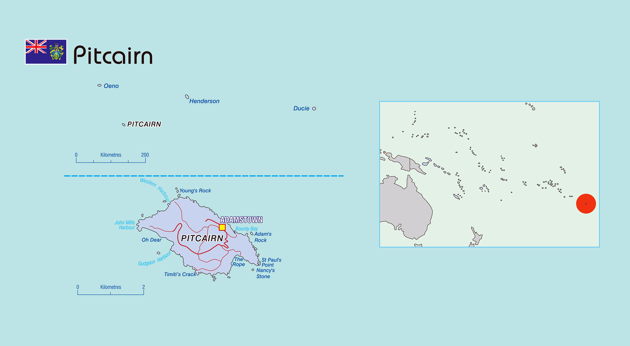 Large political map of Pitcairn Islands with roads and town