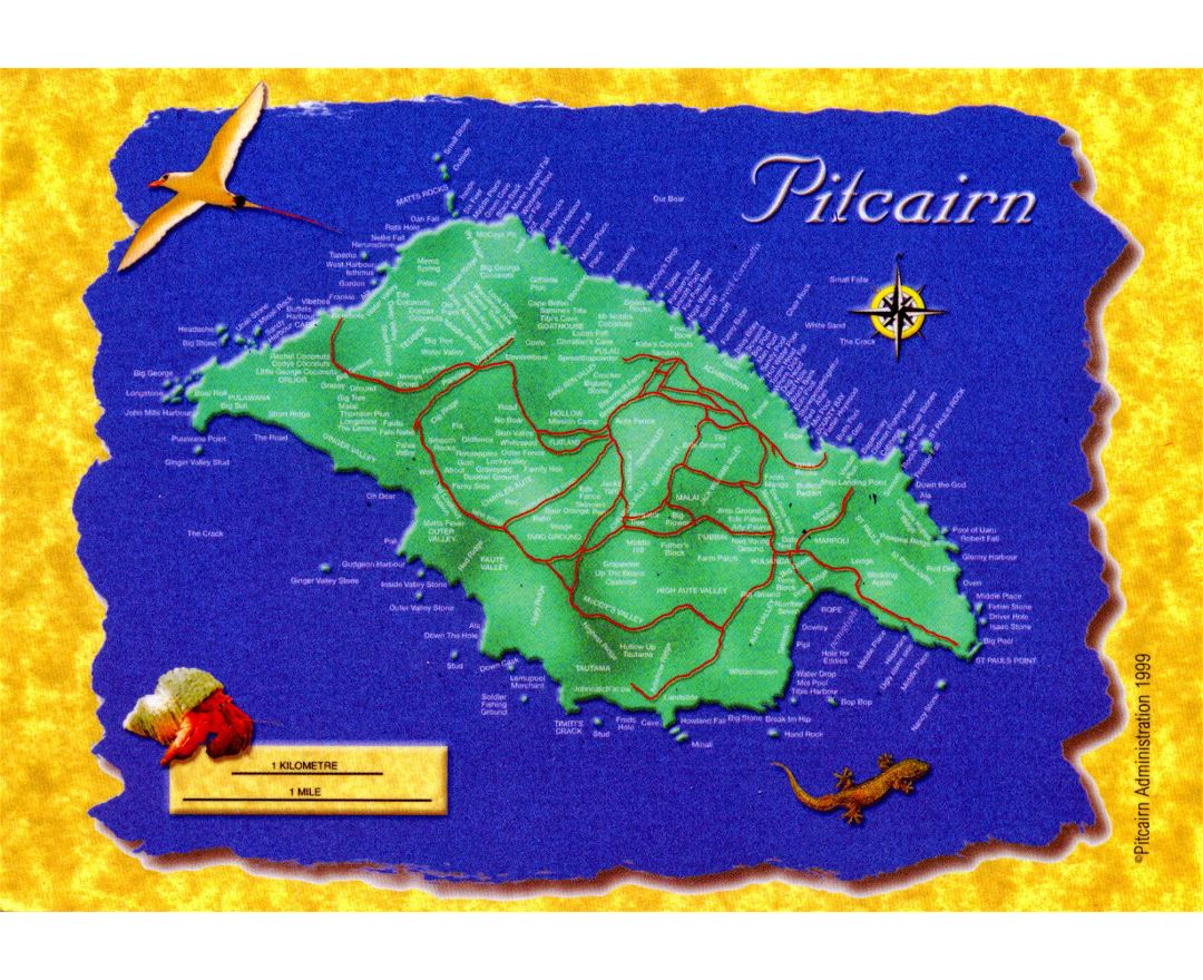 Large postcard map of Pitcairn Island