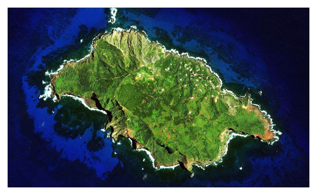 Large satellite map of Pitcairn Island