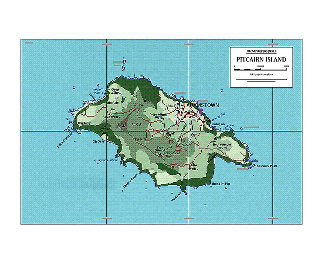 Map of Pitcairn Island with marks