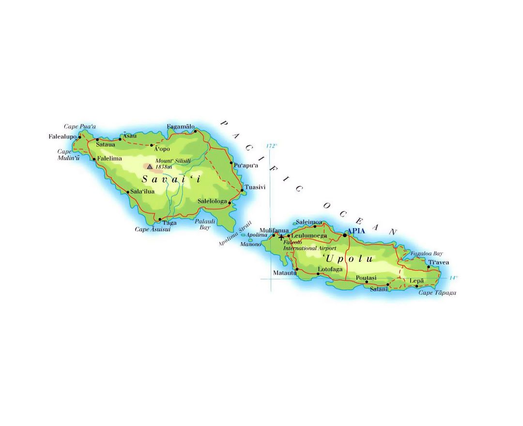 detailed elevation map of samoa with roads cities and airports