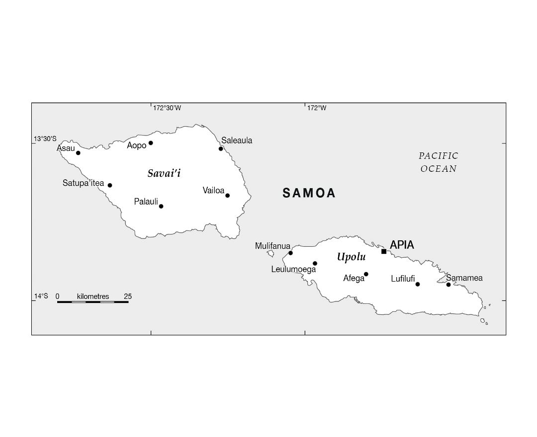 Detailed map of Samoa with large cities
