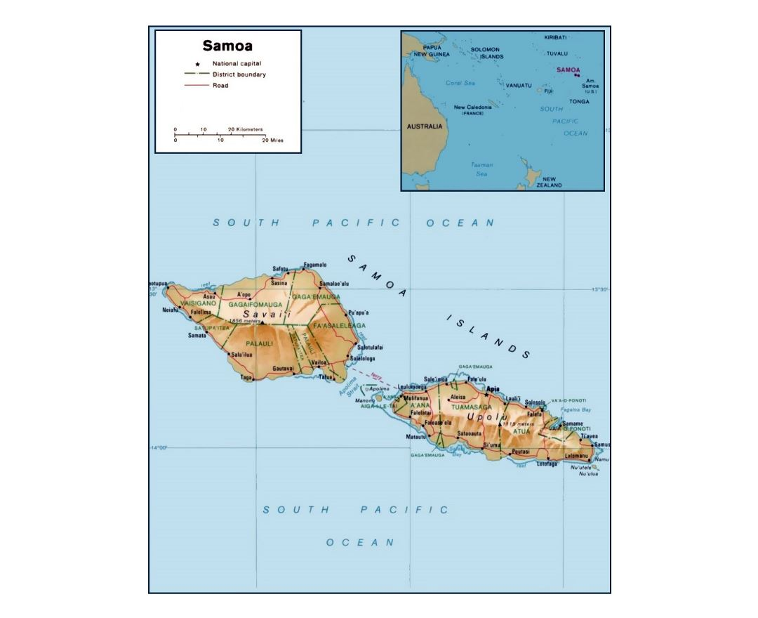 Detailed political and administrative map of Samoa with relief, roads and cities