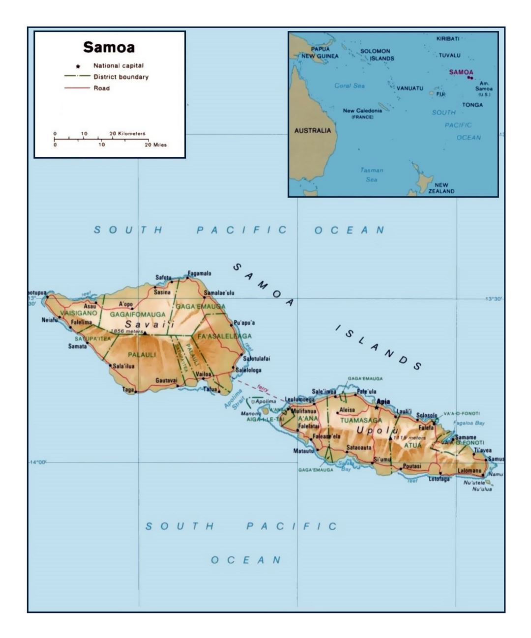 detailed political and administrative map of samoa with relief roads and cities