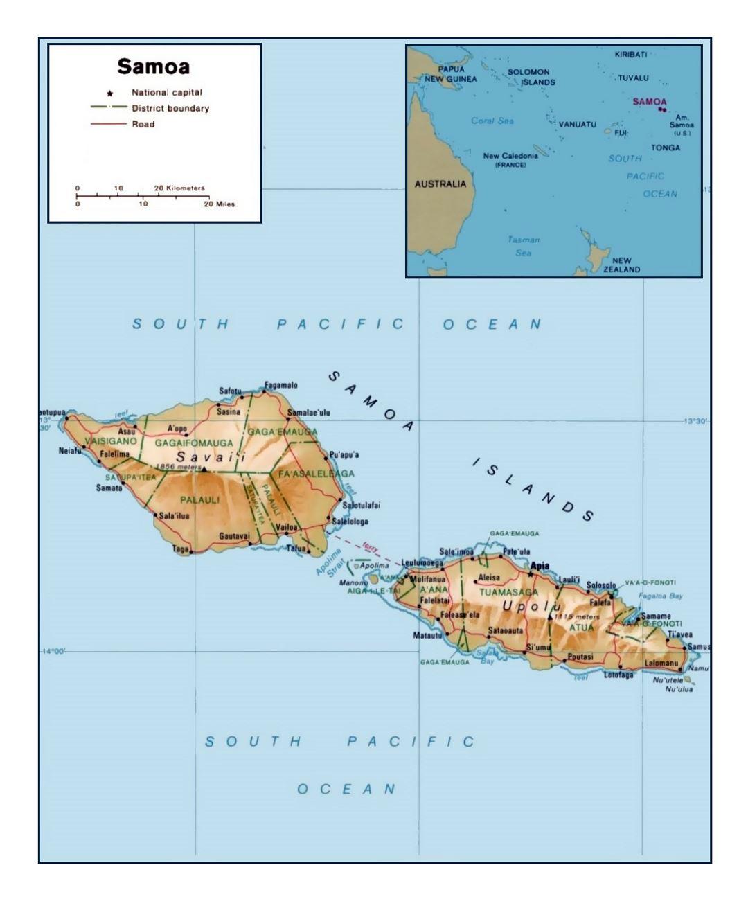 Detailed political and administrative map of Samoa with ... on samoa and guam on map, nile river on world map, aegean sea on world map, samoa city, samoa animals, borneo on world map, samoan islands world map, persian gulf on world map, niger river on world map, cayman islands on world map, midway island on world map, yellow river on world map, jarvis island on world map, samoa on a world map, samoa capital, boston location map, honshu on world map, amazon river on world map, lake superior on world map, samoa on the map,