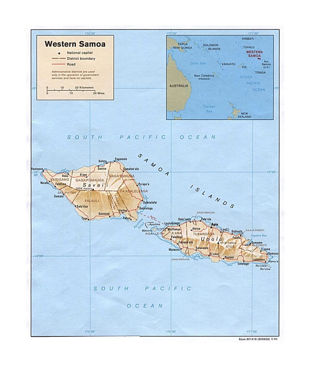 Detailed political and administrative map of Western Samoa with relief, roads and cities - 1990