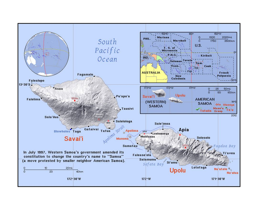 Detailed political map of Samoa with relief