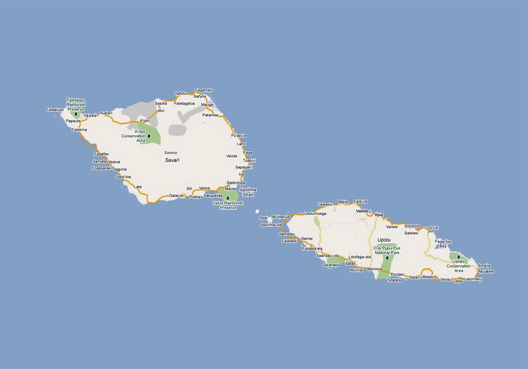 Detailed road map of Samoa with cities