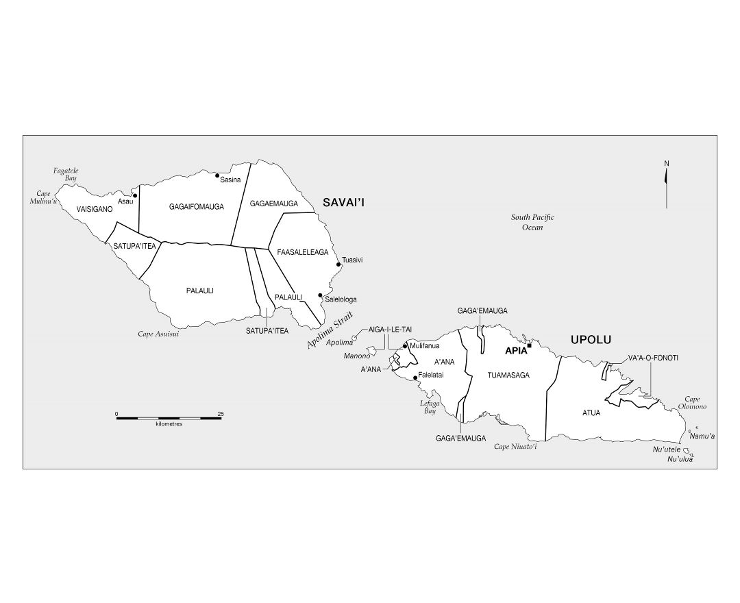 Large administrative map of Samoa with cities