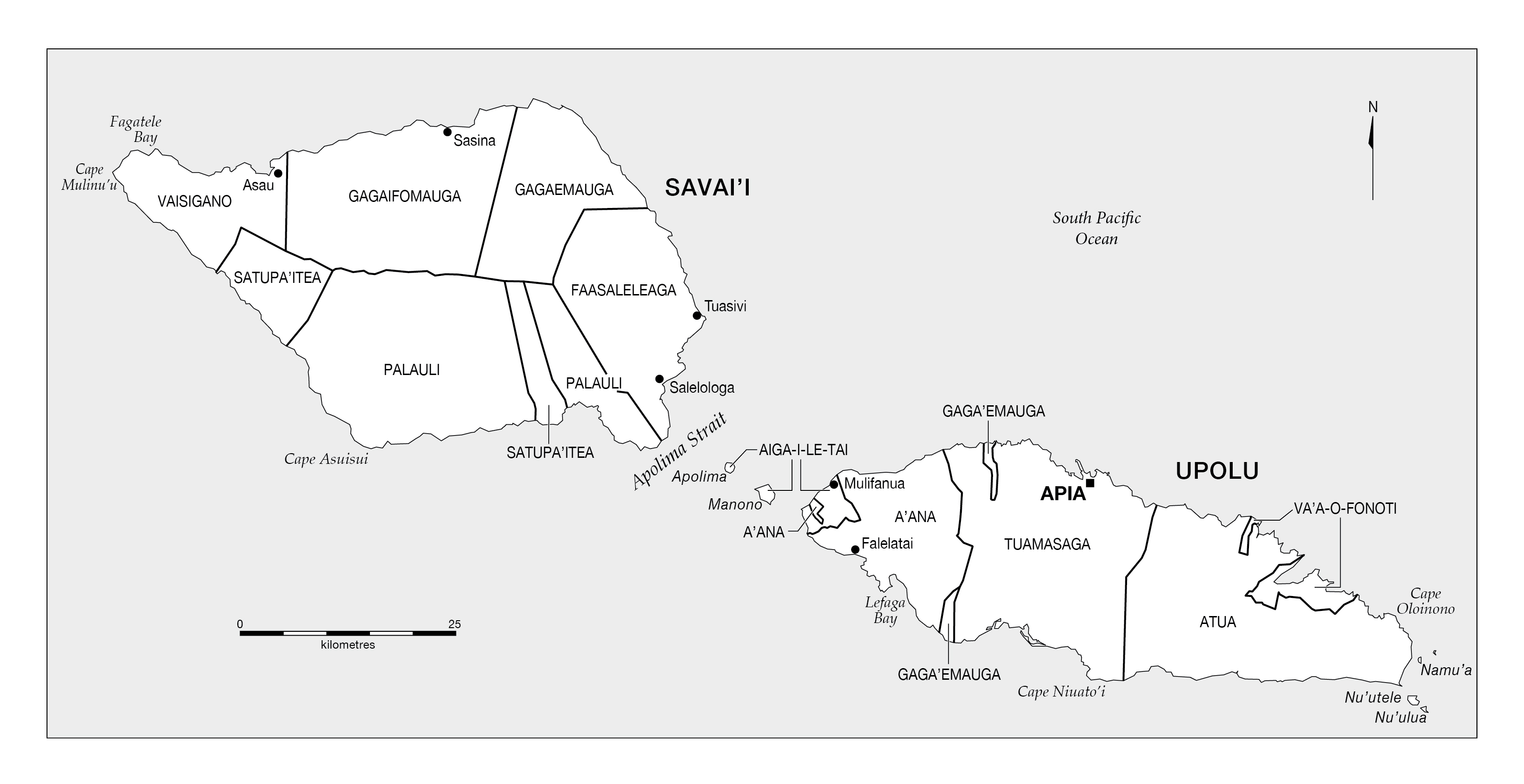 Large administrative map of Samoa with cities Samoa Oceania