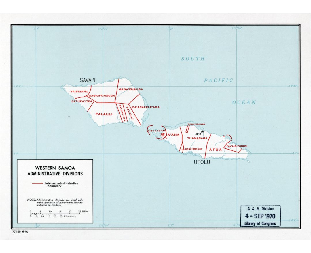 Large detailed administrative divisions map of Western Samoa - 1970