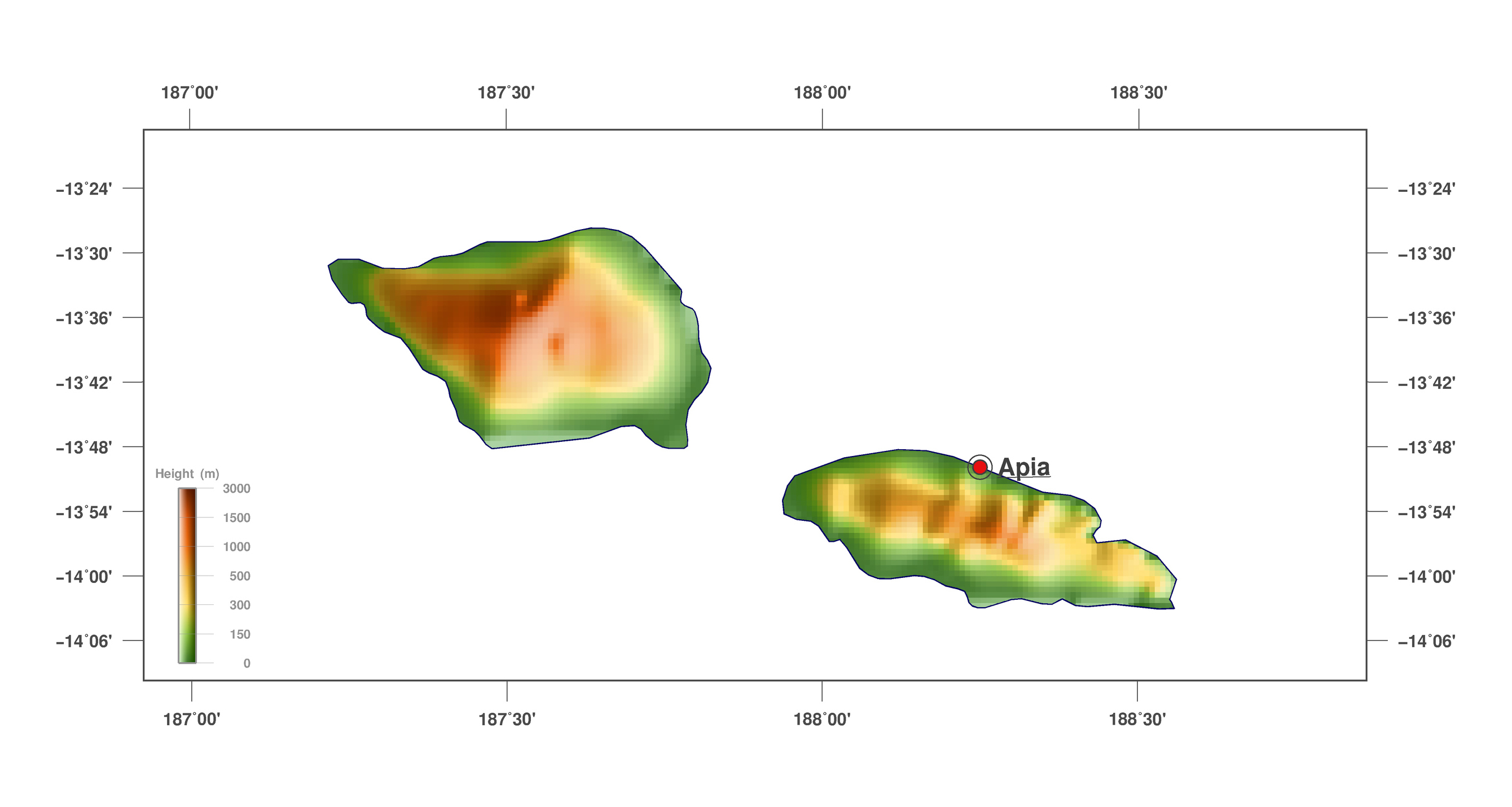 Large detailed elevation map of Samoa Samoa Oceania Mapsland