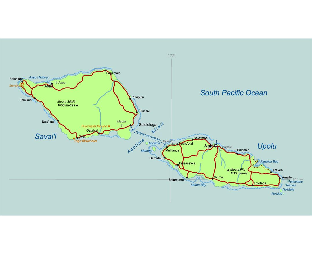 Large detailed map of Samoa with roads, cities, airports and ports