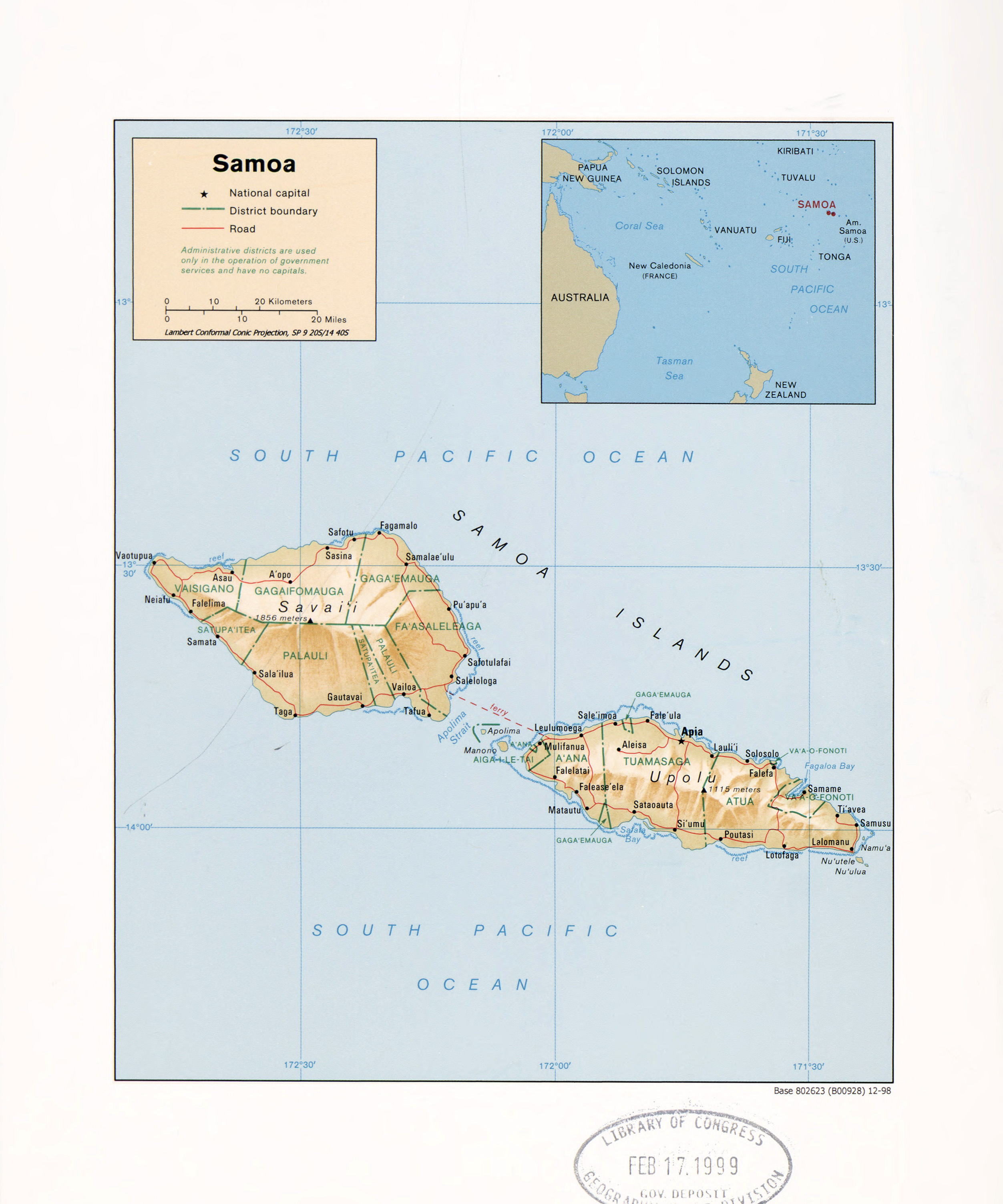 Large detailed political and administrative map of Samoa with relief