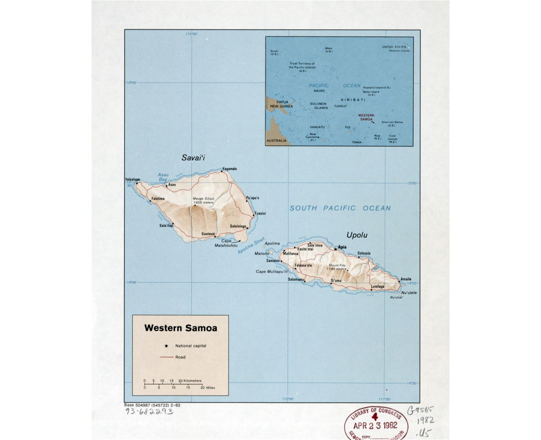 Large detailed political map of Western Samoa with relief, roads and cities - 1982