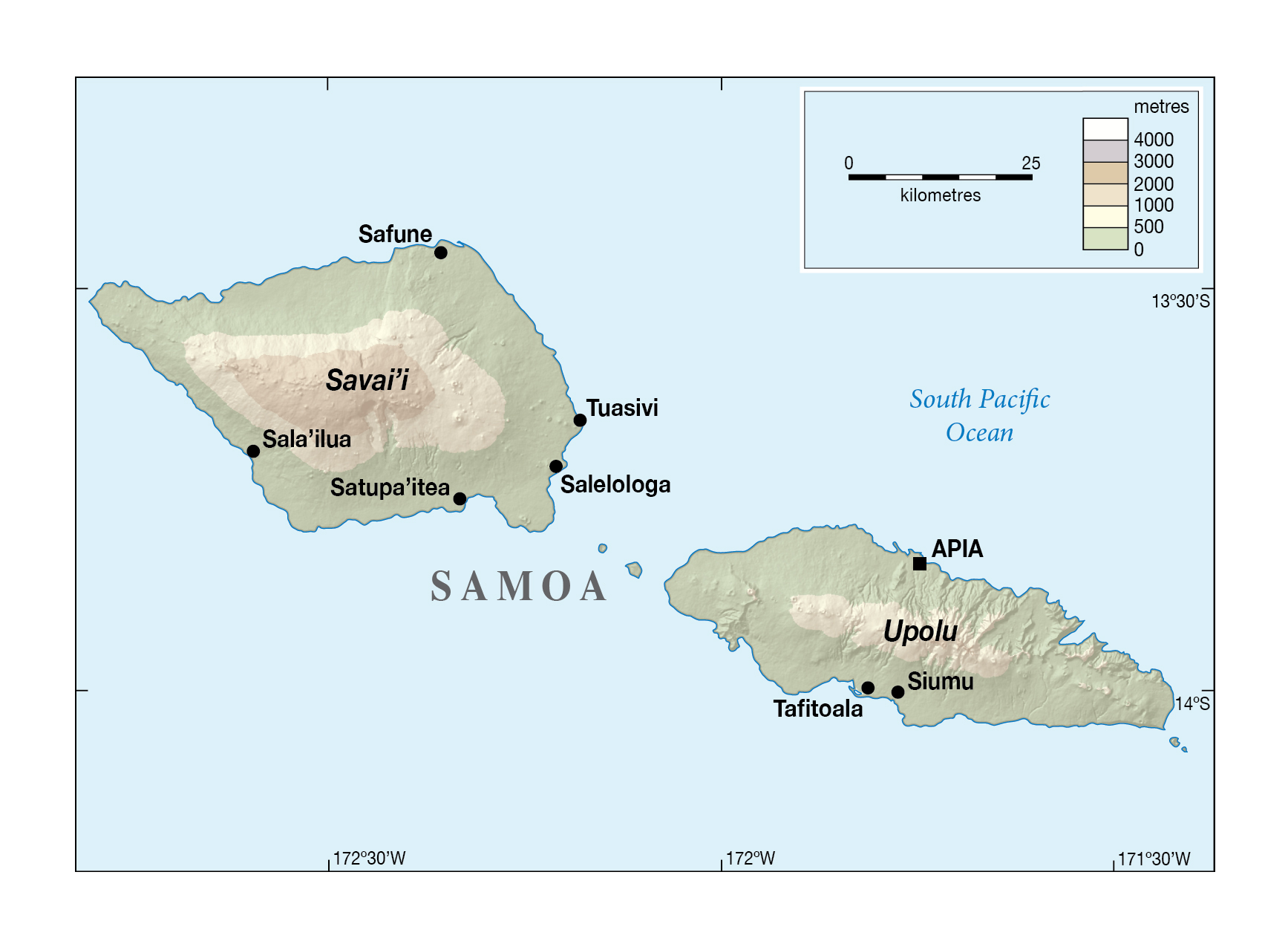 Large elevation map of Samoa with cities Samoa Oceania
