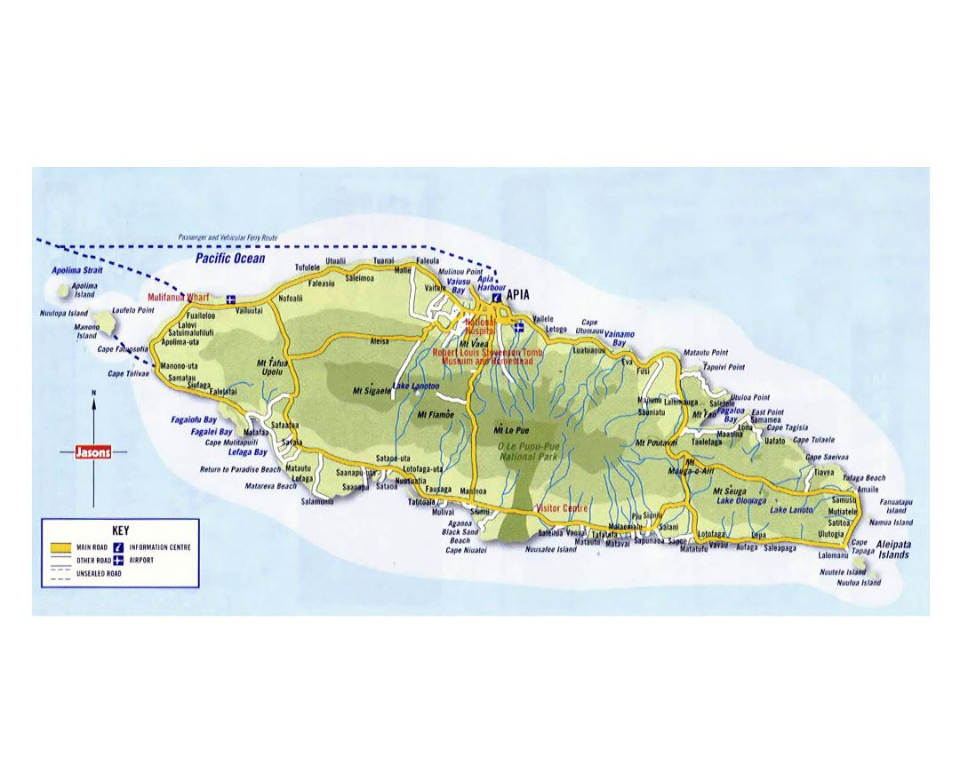 Large map of Upolu Island, Samoa with roads, cities and other marks