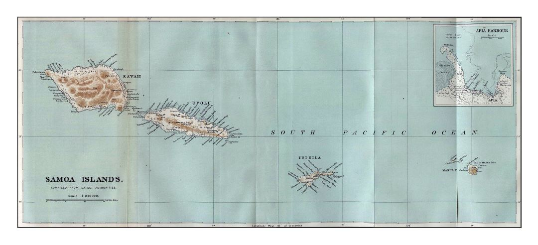 Large old map of Samoa Islands with relief and other marks - 1889
