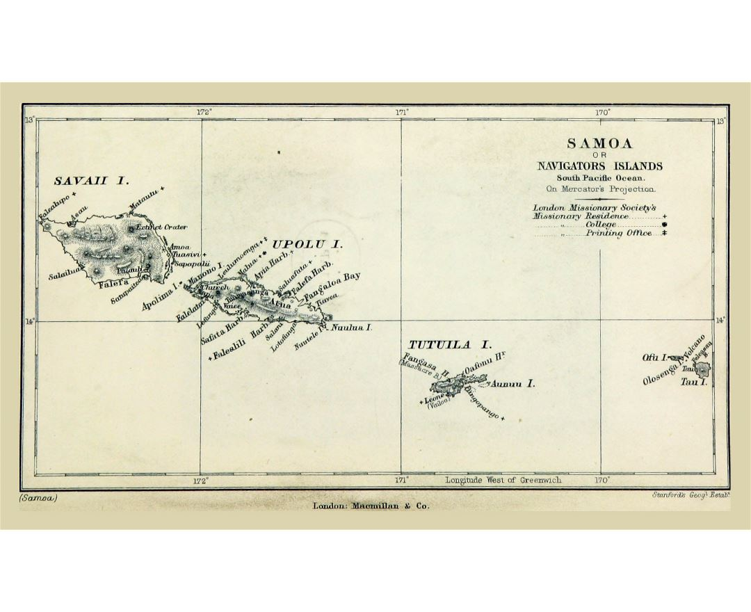Large old map of Samoa with relief - 1884