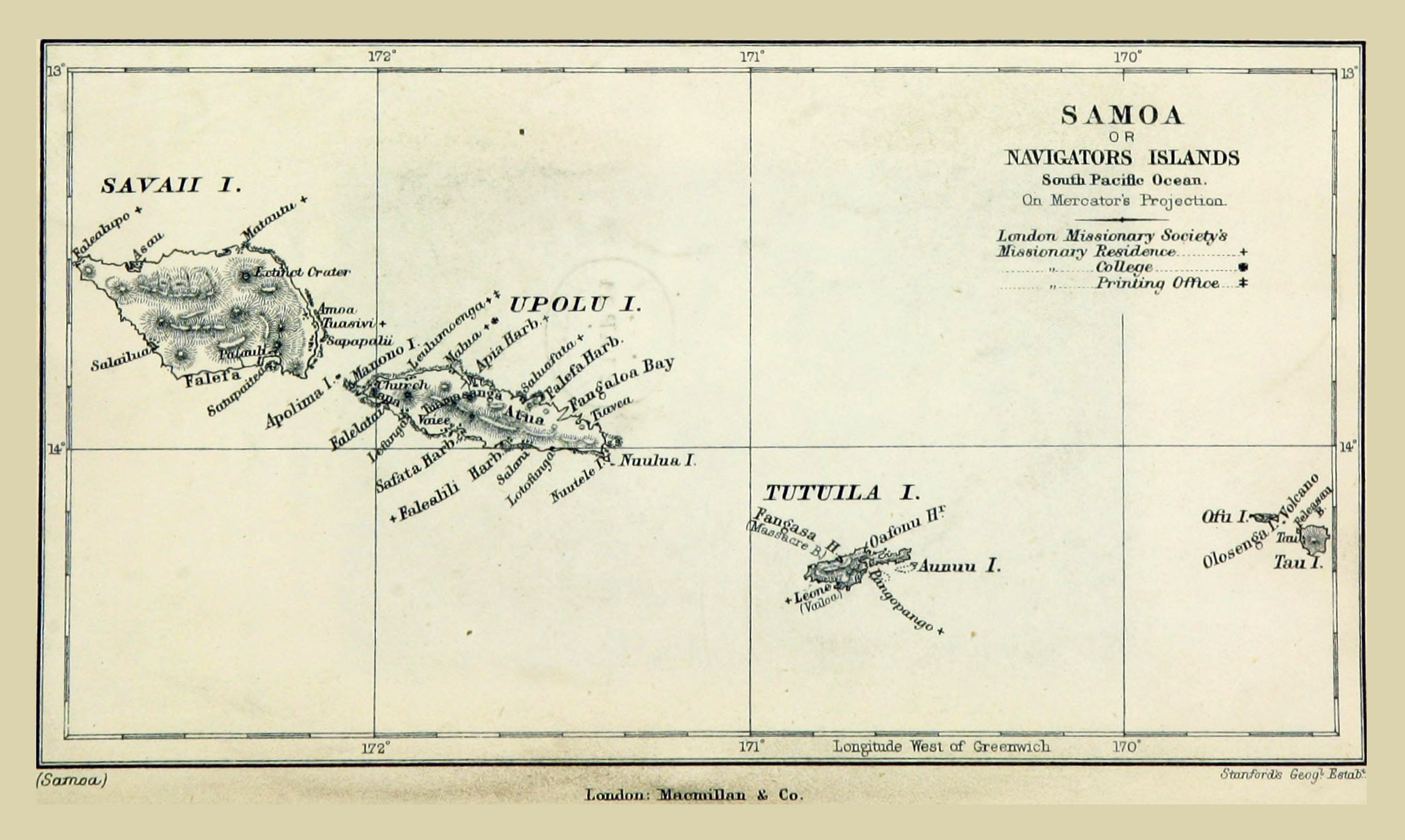 Large old map of Samoa with relief 1884 Samoa Oceania