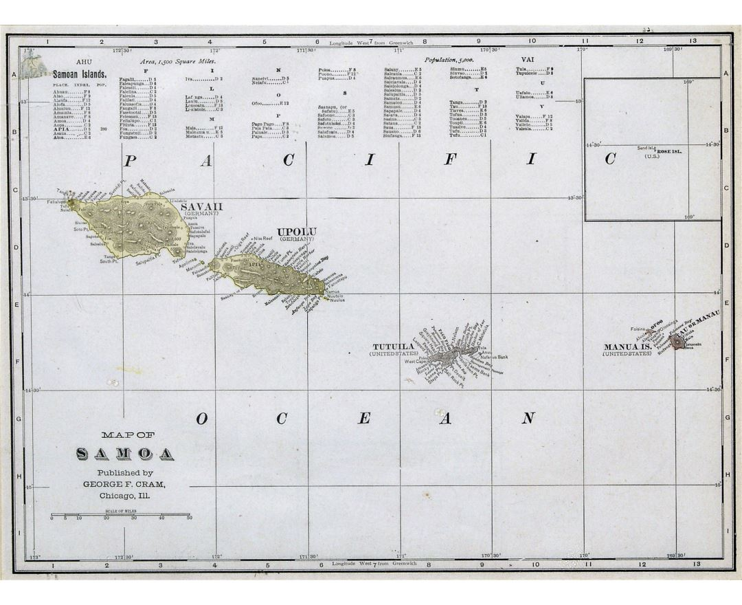 Large old map of Samoa with relief - 1896
