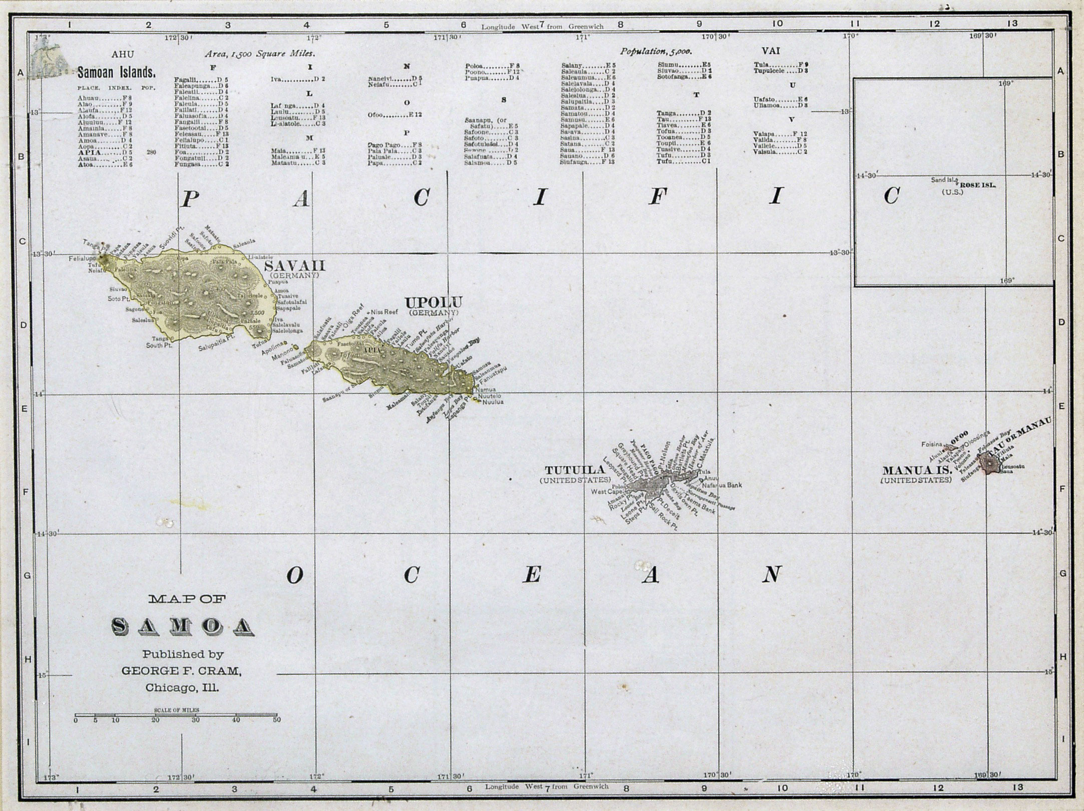 Large old map of Samoa with relief 1896 Samoa Oceania