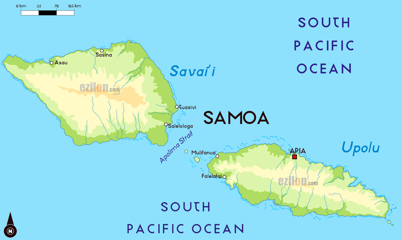 Large physical map of Samoa with major cities Samoa Oceania