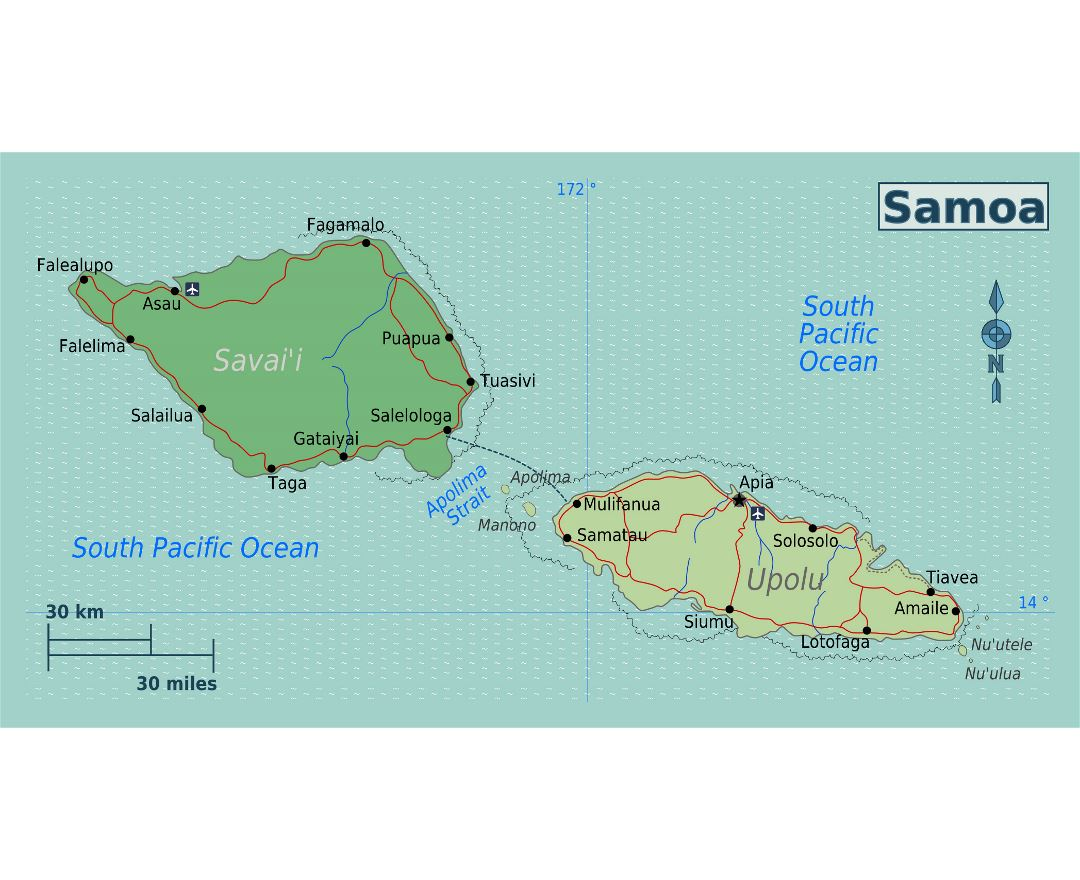 large regions map of samoa