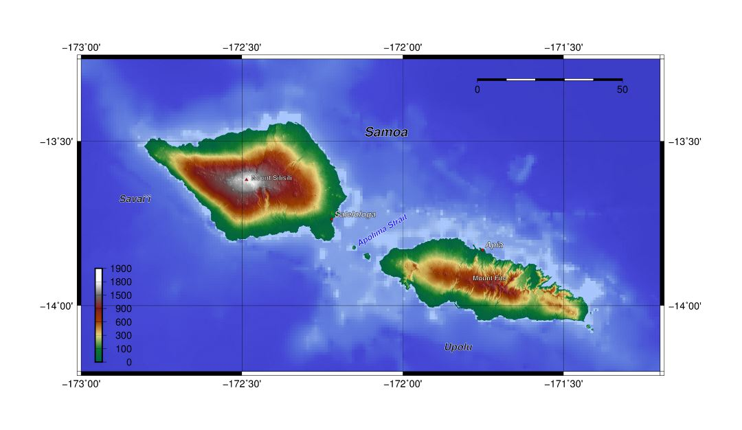 Large topographical map of Samoa