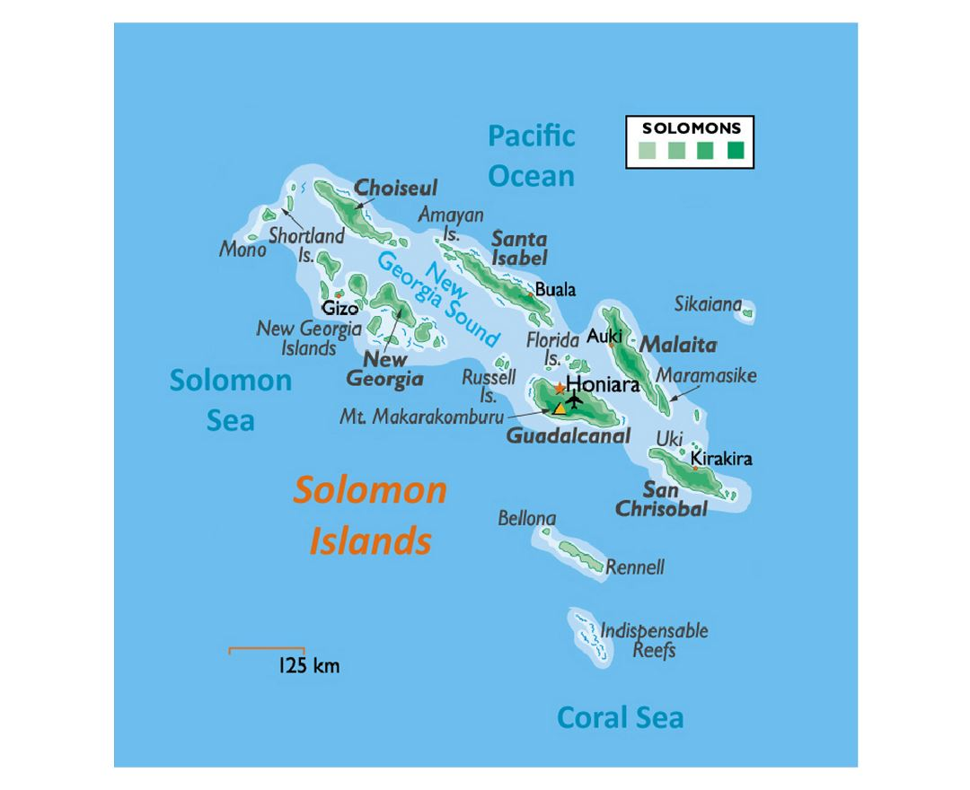 Detailed elevation map of Solomon Islands with other marks