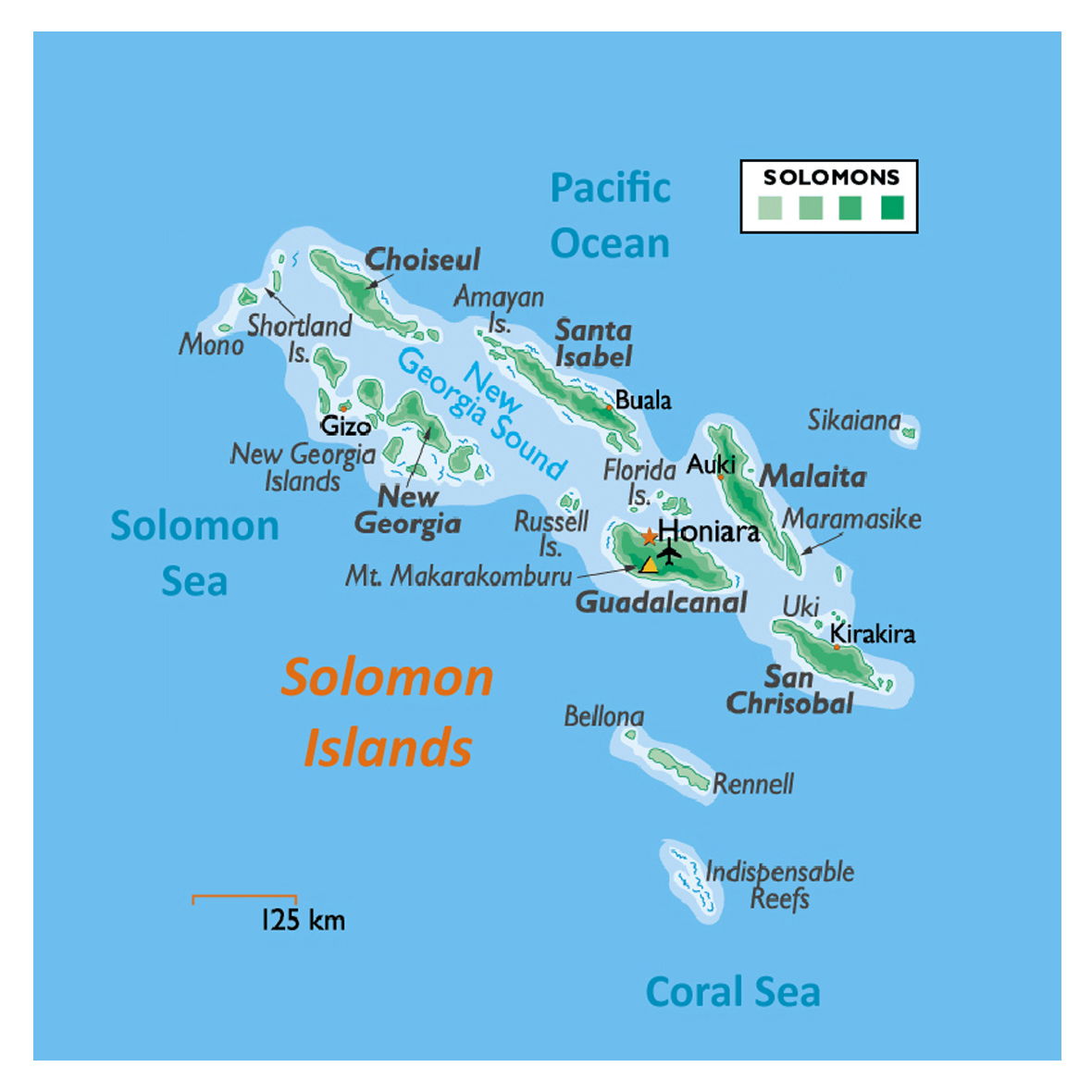 Detailed Elevation Map Of Solomon Islands With Other Marks Solomon