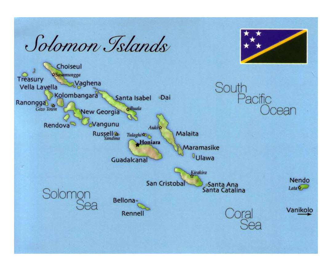 Detailed map of Solomon Islands with flag