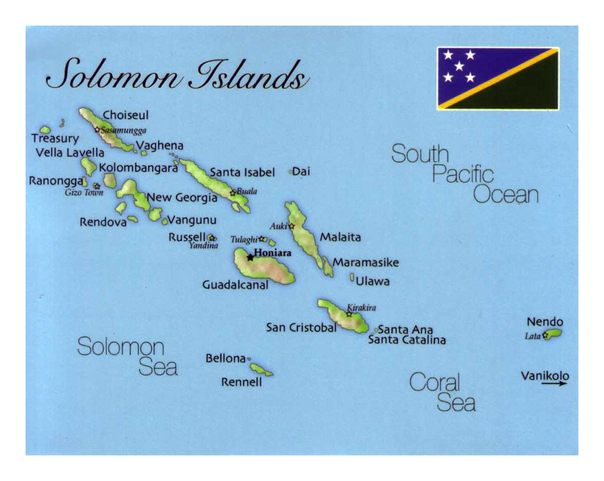 Detailed map of Solomon Islands with flag Solomon Islands