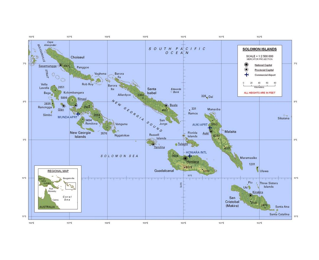 Detailed map of Solomon Islands with relief, large cities and airports